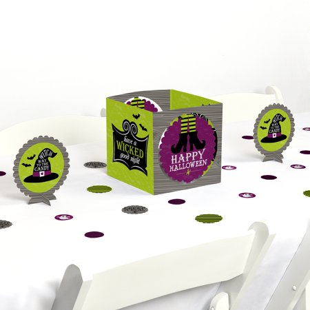 Happy Halloween - Witch Party Centerpiece & Table Decoration - Halloween Party Table Setup