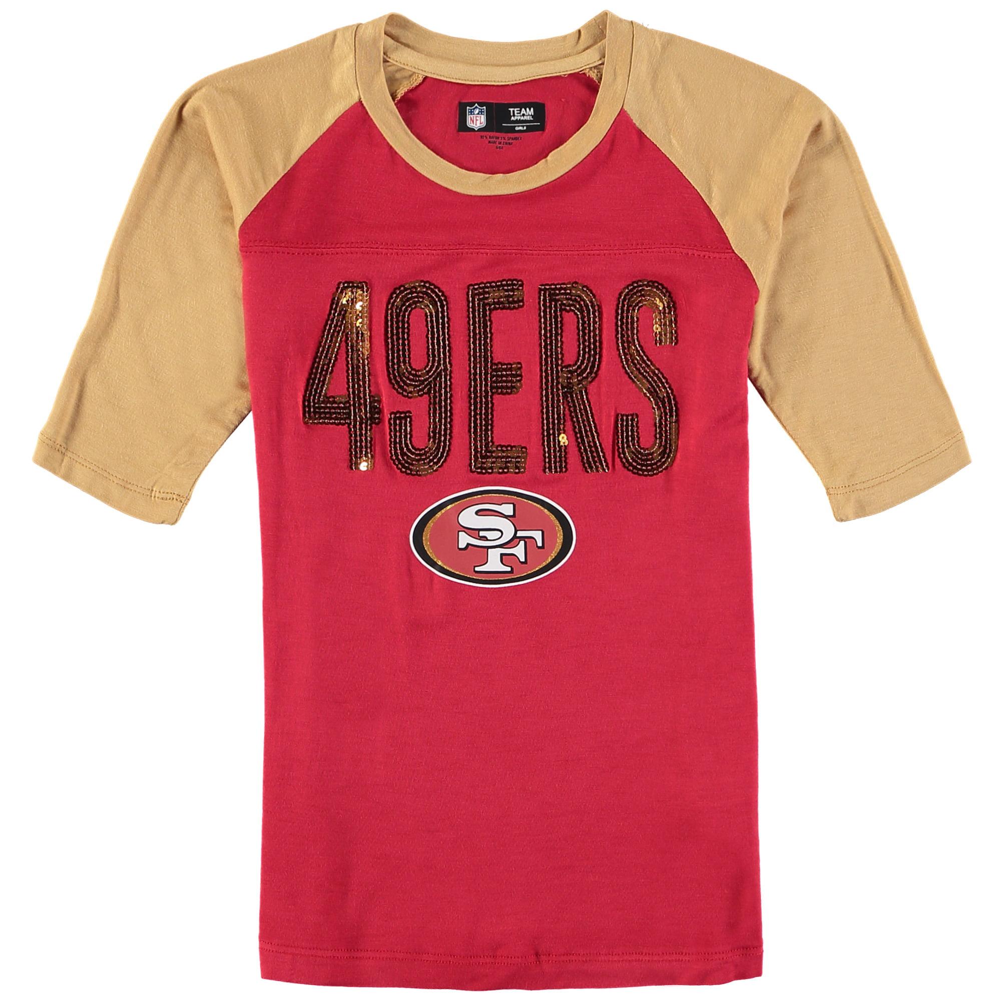 San Francisco 49ers Raglan Shirt Youth Girls Graphic Tee