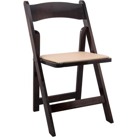 Advantage Series 4pk Wood Folding Chair with Vinyl Padded Seat, Multiple colors