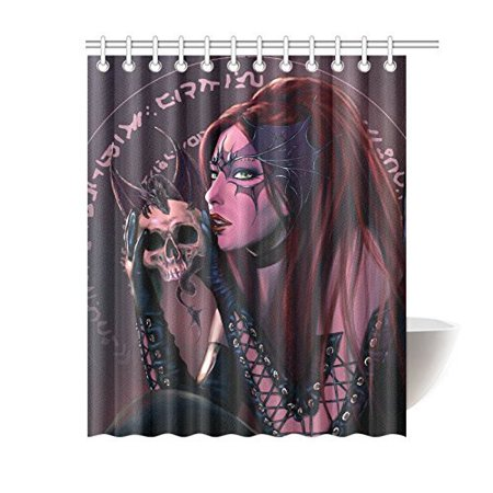 RYLABLUE The Witch And The Dragon With A SkullShower Curtain Bathroom Decor 66x72 Inch - image 1 of 2