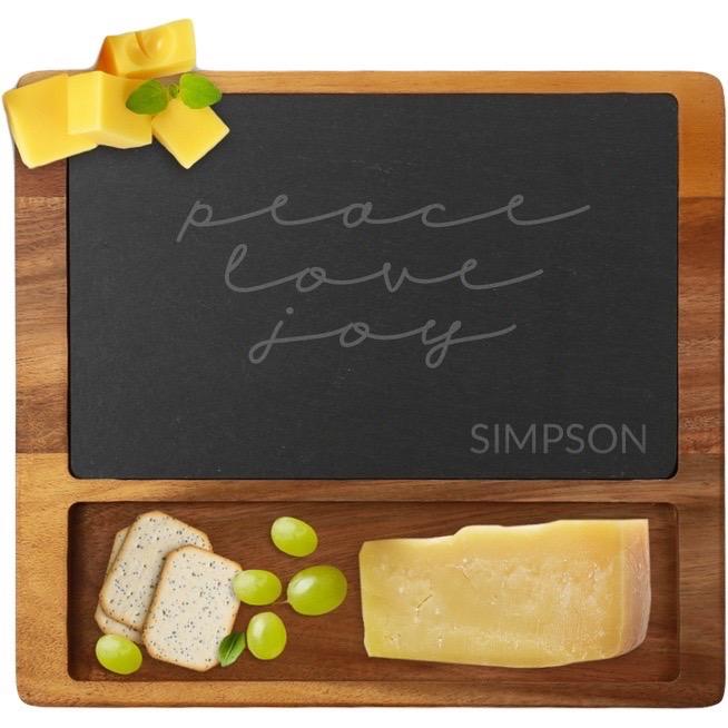 Peace Love Joy Custom Square Cheese Slate Board
