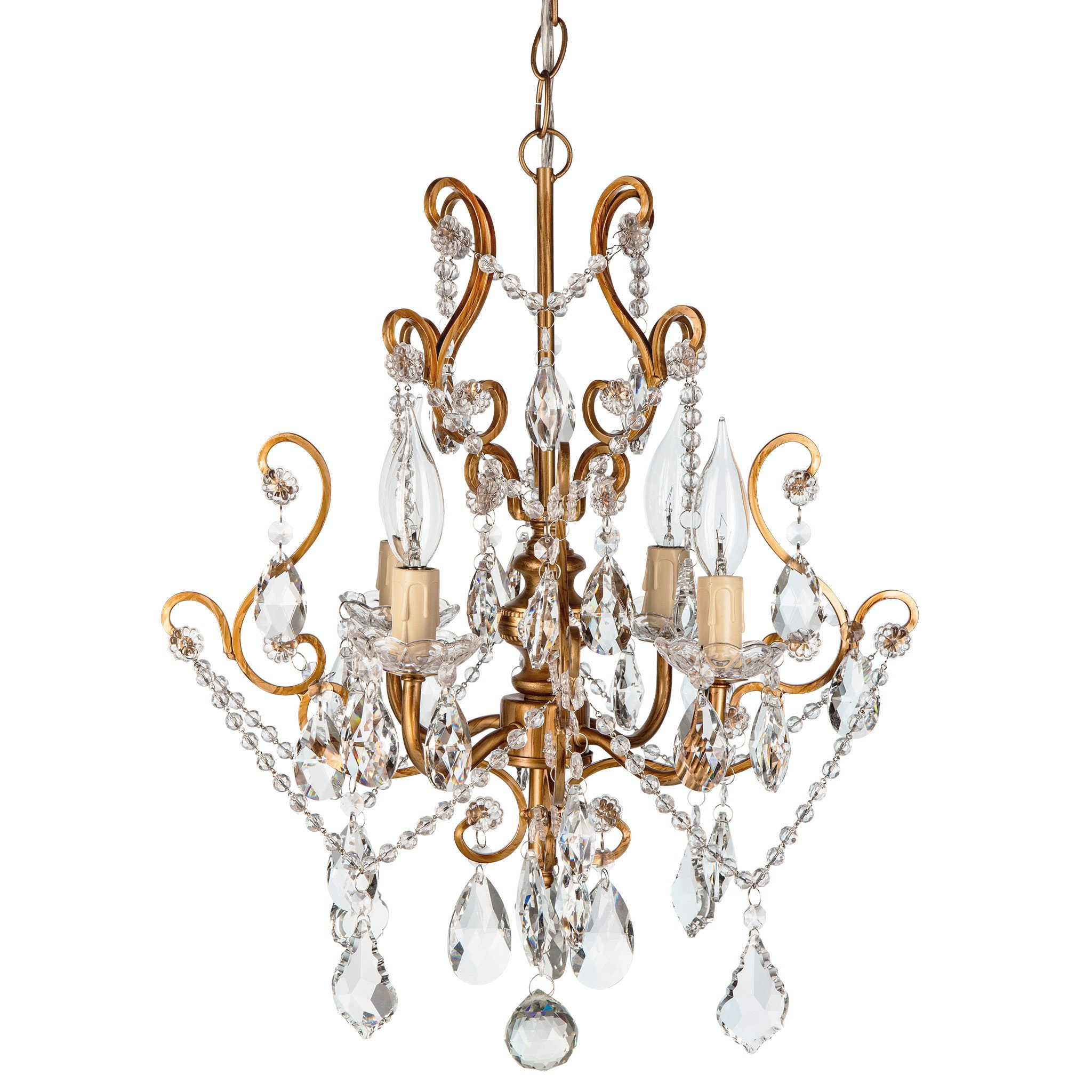 Amalfi Decor 4 Light Vintage Crystal Plug-In Chandelier (Gold) | H | Wrought Iron Frame with Glass Crystals