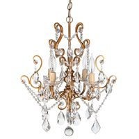 Amalfi Décor 4 Light Vintage Crystal Plug-In Chandelier (Gold)   Wrought Iron Frame with Glass Crystals