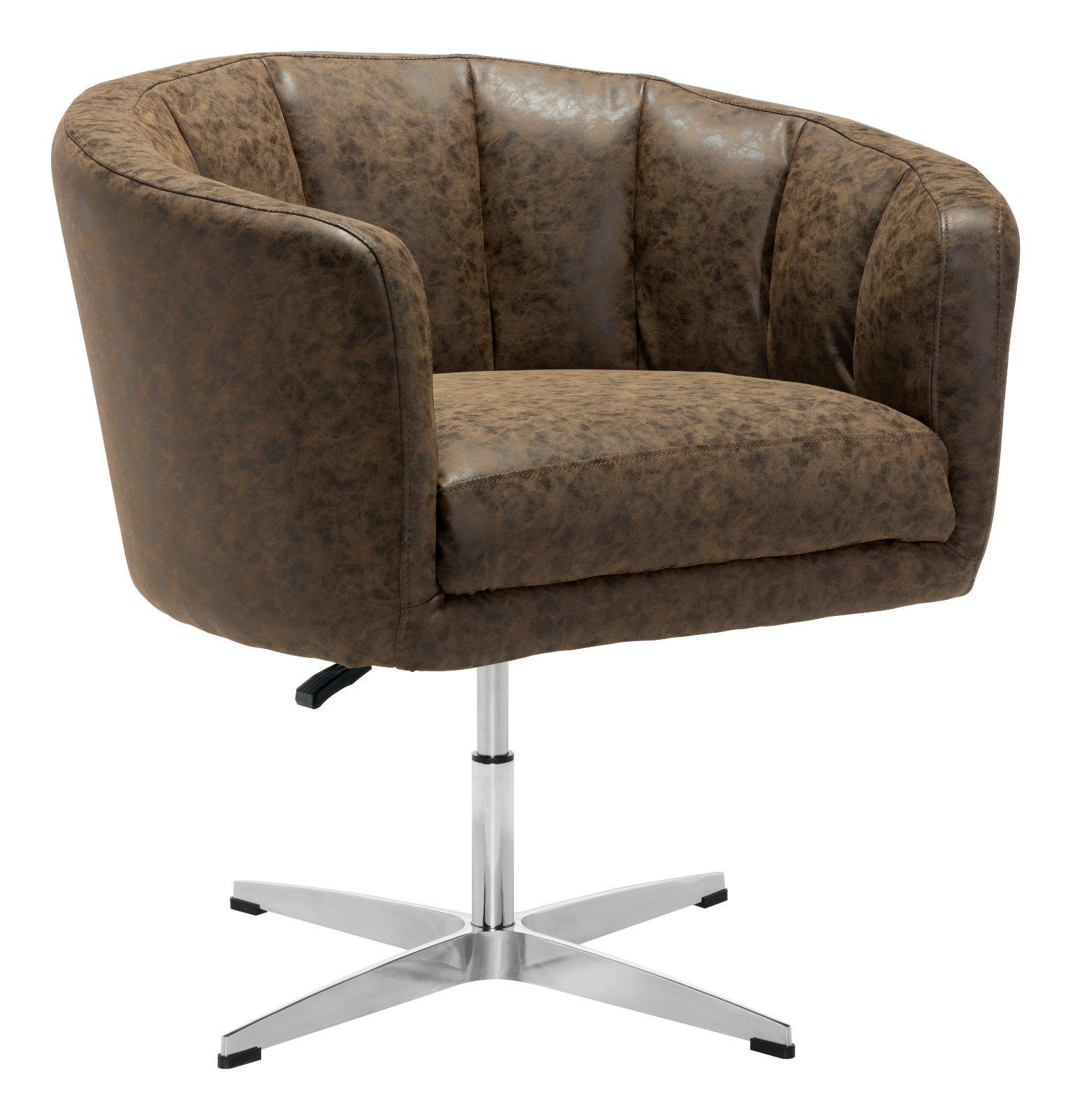 Modern Contemporary Urban Living Lounge Room Occasional Chair, Brown - Faux Leather Leatherette Aluminium