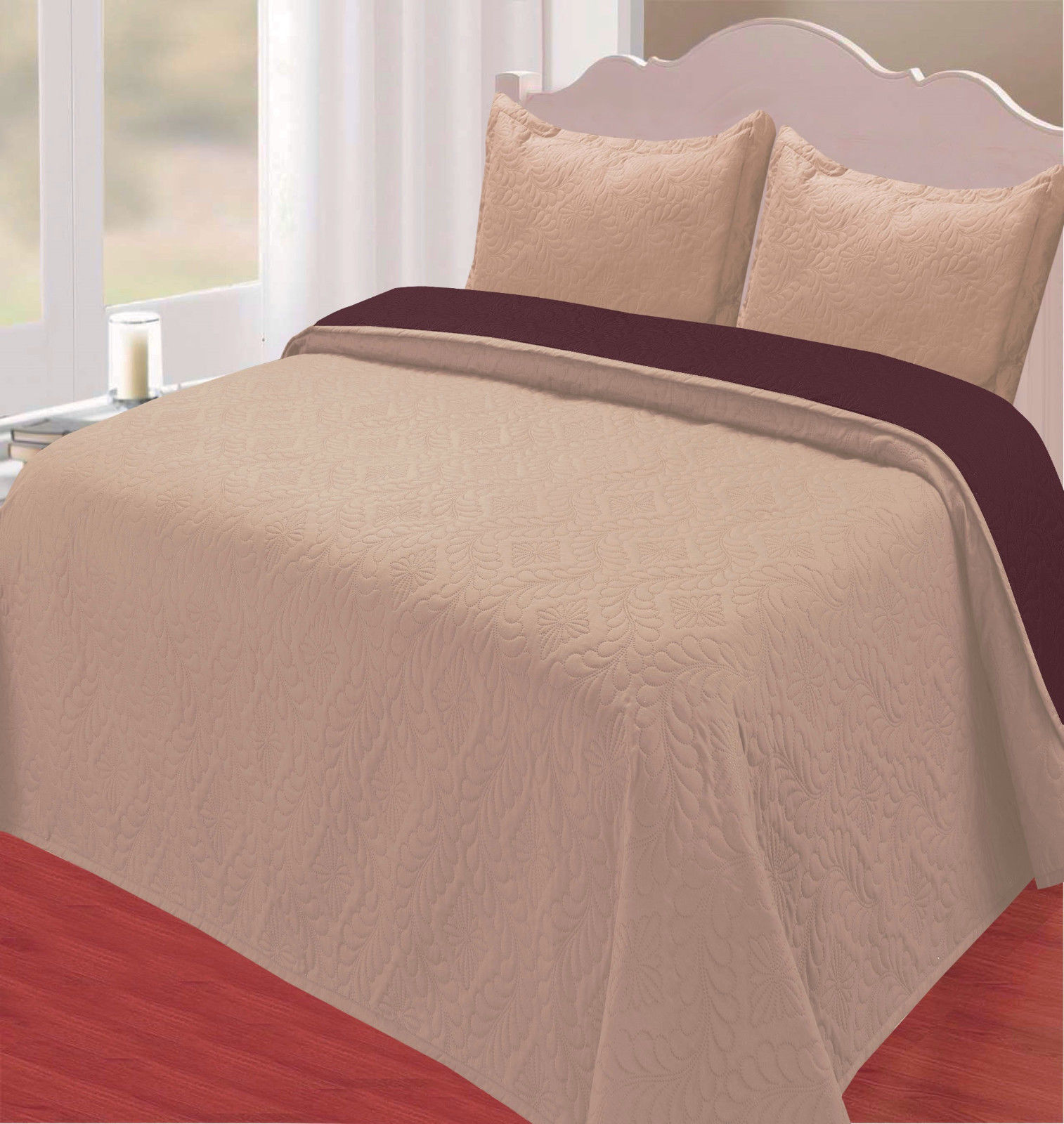 ZULMA KING TAUPE 3 Piece Reversible Solid Floral Swirl Pattern Stitched Bedding Coverlet... by