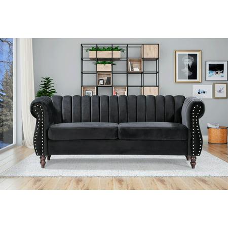 Capri Velvet Chesterfield 76 4 Rolled Arms Sofa Walmart Com Walmart Com