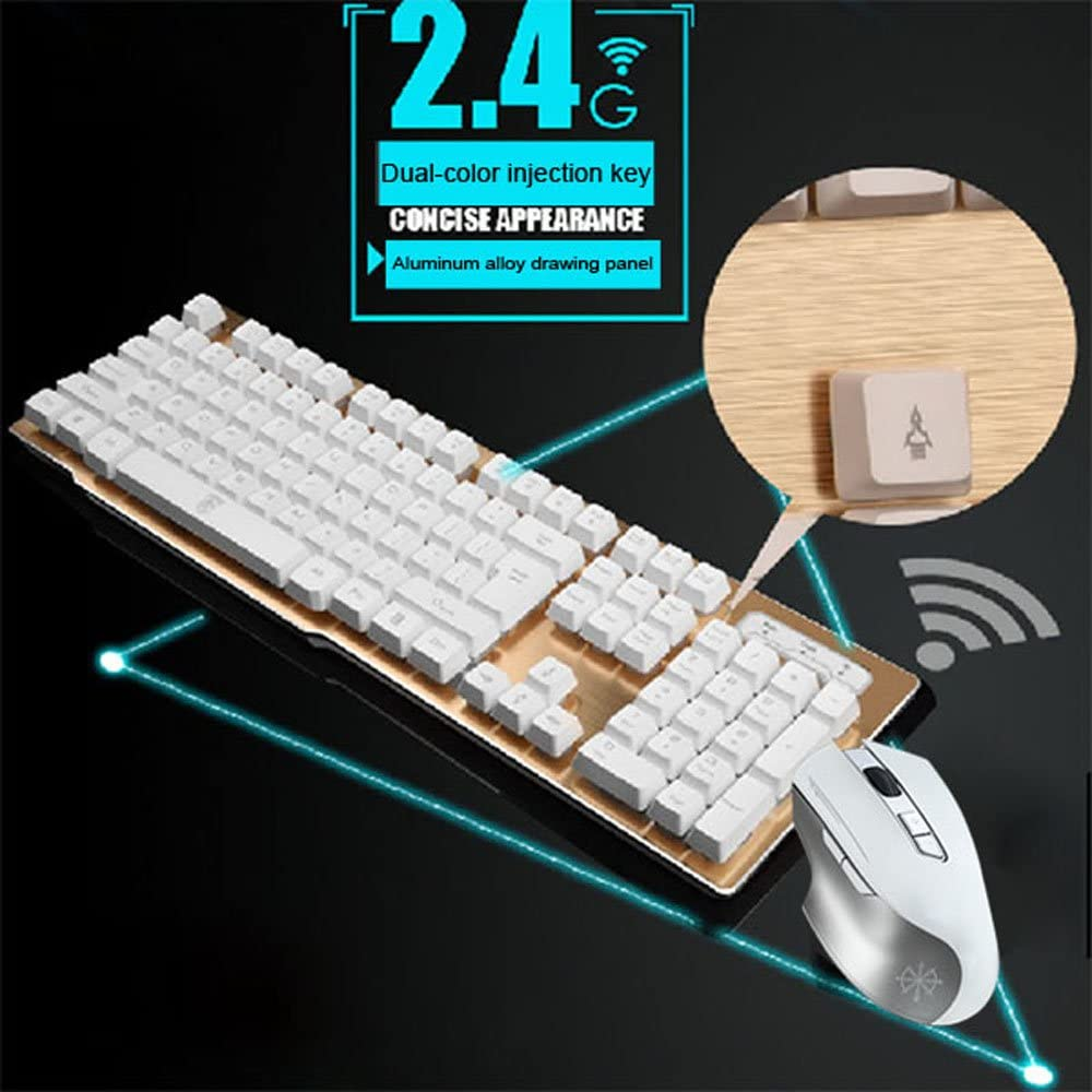 Rechargeable Keyboard and Mouse,Suspended Keycap Mechanical Feel Backlit Gaming Keyboard Mouse-Fast Charging,Wireless 2.4G Drive Free,Adjustable Breathing Lamp,Anti-ghosting,12 Multimedia Keys White