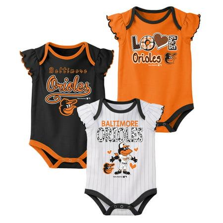 Girls Newborn & Infant Multi Baltimore Orioles 3-Pack Bodysuit Set