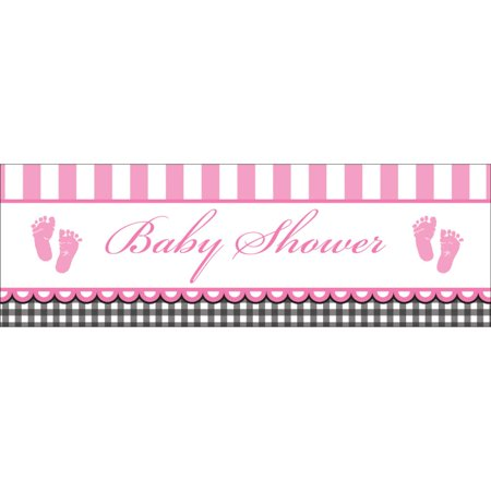 """Pack of 6 Sweet Baby Feet- Pink """"Baby Shower"""" Giant Party Banner 60"""