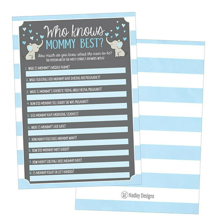 25 Blue Elephant Baby Shower Games Ideas For Boys, Fun Party Activities Who Knows Mommy Best Gender Neutral Reveal Parent Guessing Funny Questions Bundle Kids, Mom, Dad and Coed Couples Little Peanut - Best Halloween Party Ideas For Adults