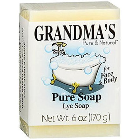 Grandma's Pure & Natural Lye Soap Bars for Dry Skin No Additives 6 oz (Best Natural Bath Soap)