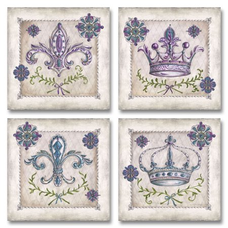 Classic Antique Purple Royal Crown, Harlequin and Fleur De Lis Posters; Four 12x12in - Fleur De Lis Crown