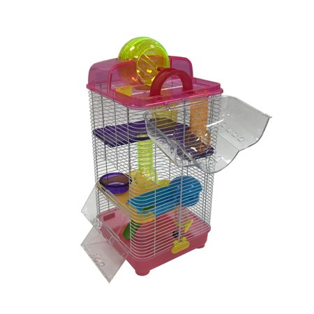 YML H3030PK 3 Level Clear Plastic Dwarf Hamster Mice Cage with Ball on Top, Pink