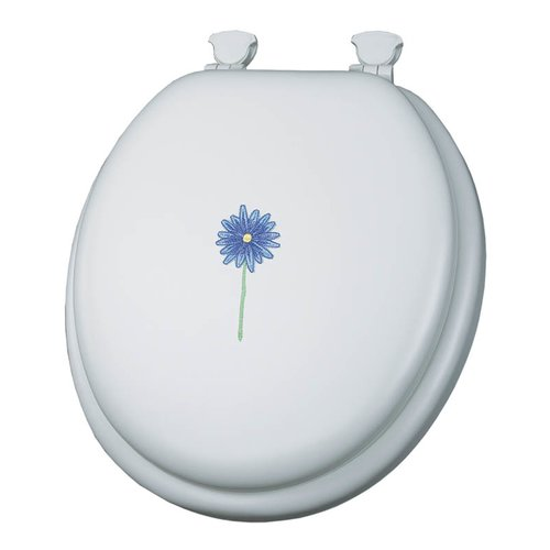 Mayfair 1349EC Embroidered Daisy In Bloom Lift-Off Cushioned Vinyl Round Toilet Seat, White by Mayfair