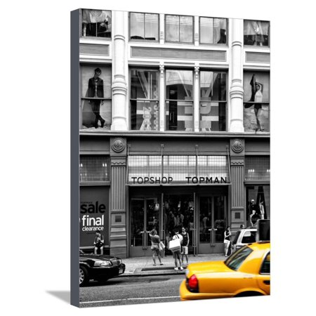 Urban Scene, Yellow Taxi, Topshop Store Front, Broadway, Soho, Manhattan, New York Colors Stretched Canvas Print Wall Art By Philippe (Broadway New York Store)