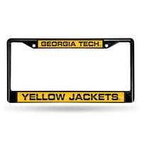 Georgia Tech Yellowjackets NCAA Black Chrome Laser Cut License Plate Frame