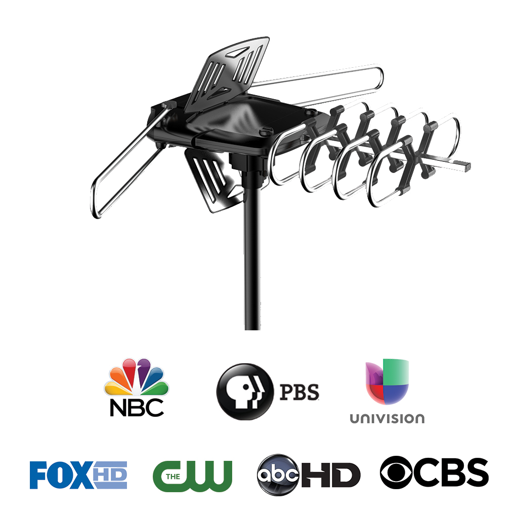 ONN ONA18CH901 HD Outdoor Antenna with 150-Mile Range + Included Pole