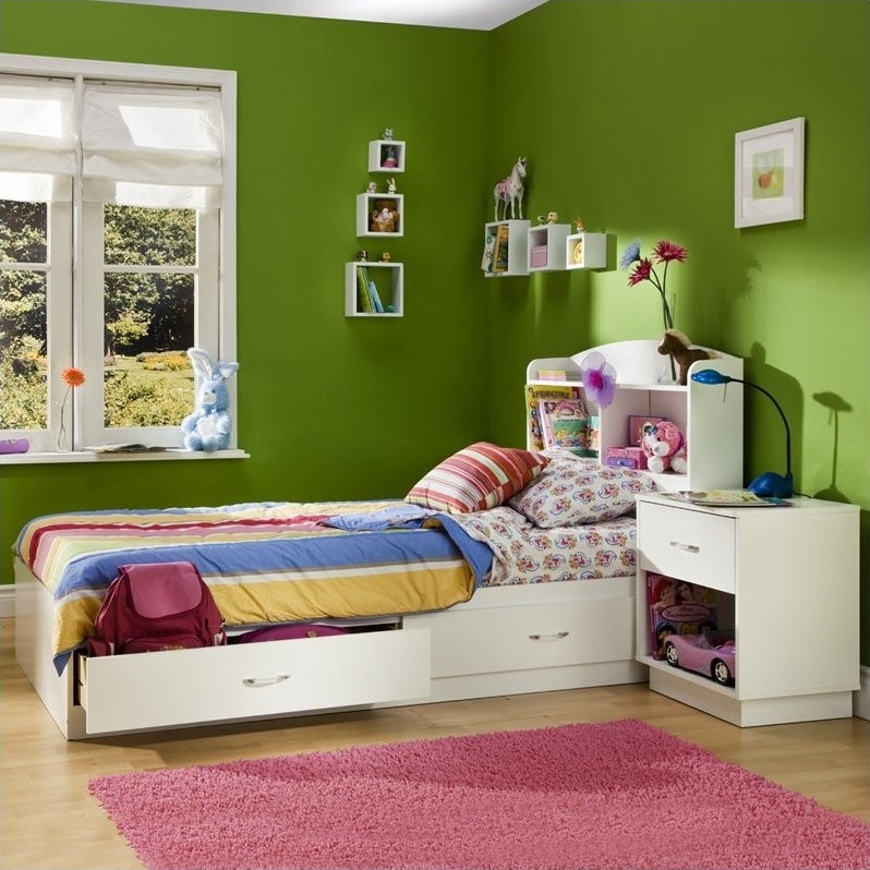South Shore Logik Kids Pure White Twin Wood Mates Storage Bed 3 Piece Bedroom Set by South Shore