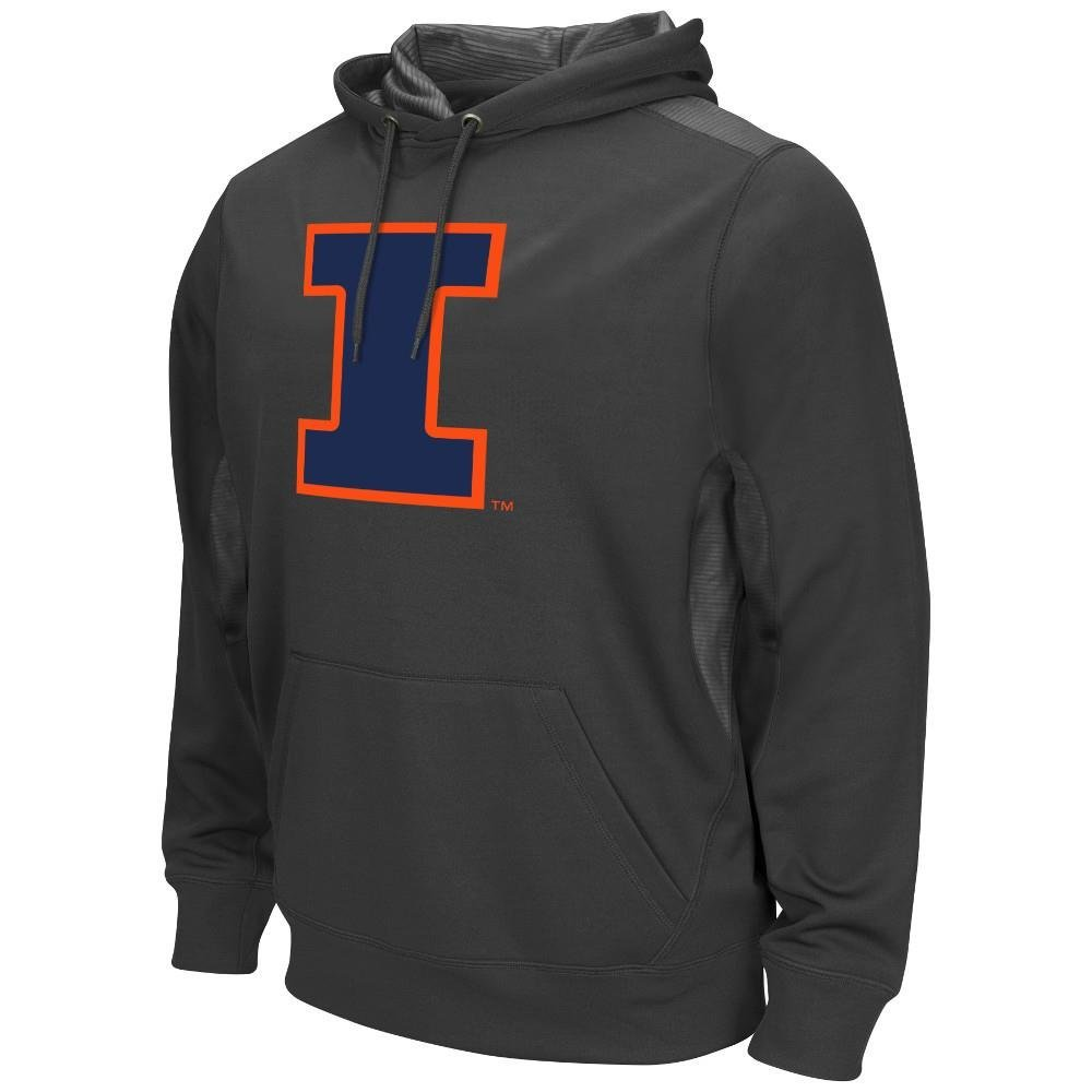 Mens NCAA Illinois Fighting Illini Poly Fleece Pull-over Hoodie (Charcoal) - L, Poly Fleece Pull-over Hoodie. Fabric: 100% Polyester..., By Colosseum Ship from US