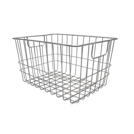 Handcrafted 4 Home Metal Wire Rectangular Basket, Silver