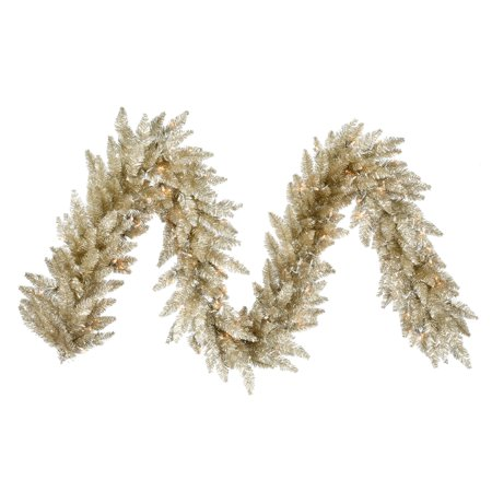 Vickerman 9' Champagne Artificial Christmas Garland Unlit](Artificial Eucalyptus Garland)