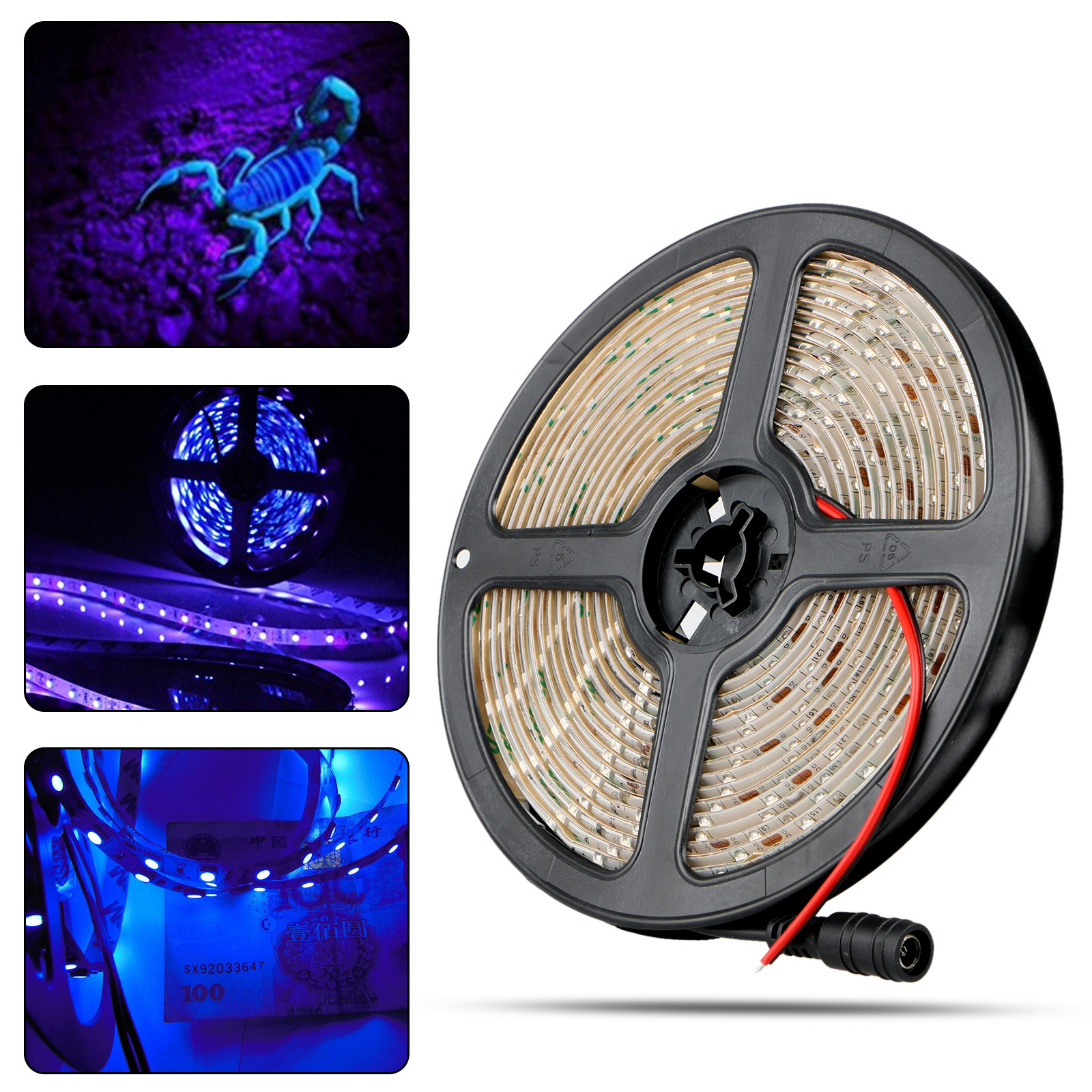 TSV UV/Ultraviolet Black Lights LED Strip 300 LEDs 16.4Ft/5M 3528 Flexible Waterproof Blacklights Purple Light Night Fishing Sterilization Implicitly Party