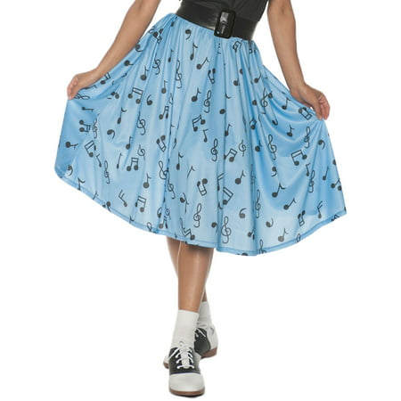Adult Womens 1950's Blue Musical Note Skirt Halloween Costume (1950's Themed Party Costumes)