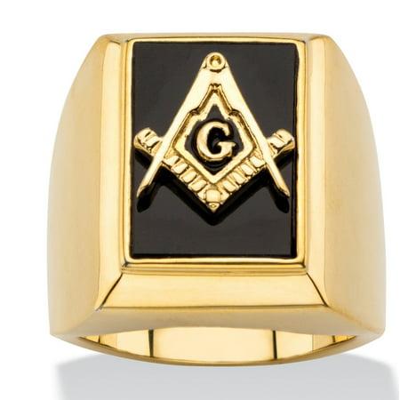 Men's Emerald-Cut Genuine Black Onyx Masonic Square and Compasses Cabochon Ring 14k (Genuine Onyx Cabochon Ring)