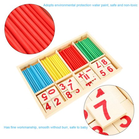 Wooden Block Toy,Wooden Math Toys,Zerone Kids Educational Wooden Toy Set Baby Children Preschool Math Learning Props Wood Blocks