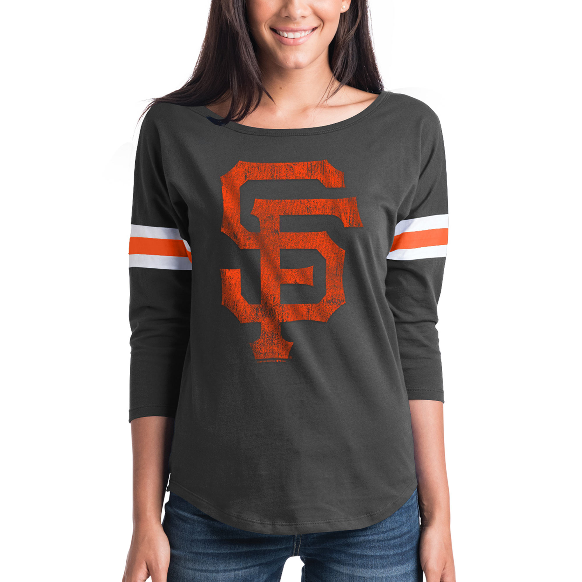 Women's New Era Black San Francisco Giants Scoop Neck 3/4-Sleeve T-Shirt