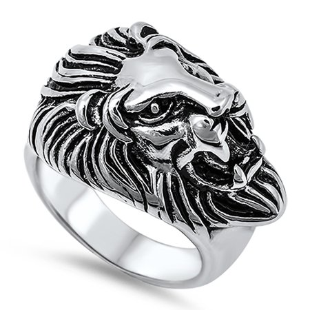 Large Men's Lion Head Sideways Cat Ring New 316L Stainless Steel Band Size