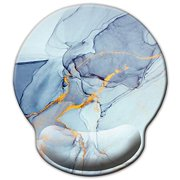 ITNRSIIET [30% Larger] Mouse Pad, Ergonomic Mouse Pad with Gel Wrist Rest Support, Gaming Mouse Pad with Lycra Cloth, Non-Slip PU Base for Computer Laptop Home Office, Modern Marbling Blue