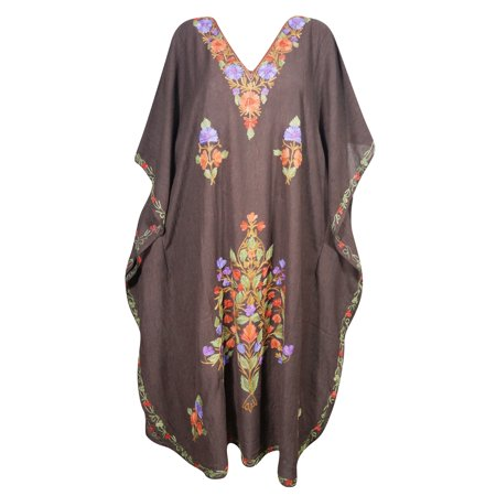 Mogul Kashmiri Maxi Kaftan Floral Hand Embroidered Brown Beach Cover Up Evening Dress