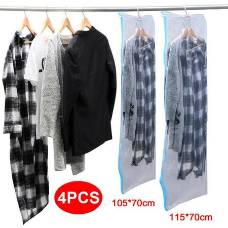 topeakmart 4 pcs vacuum seal hanging garment bags space saver organizer storage bags. Black Bedroom Furniture Sets. Home Design Ideas