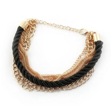 - Woman Woven Chain Shape Metal Cuff Bracelet Bangle Black Gold Tone
