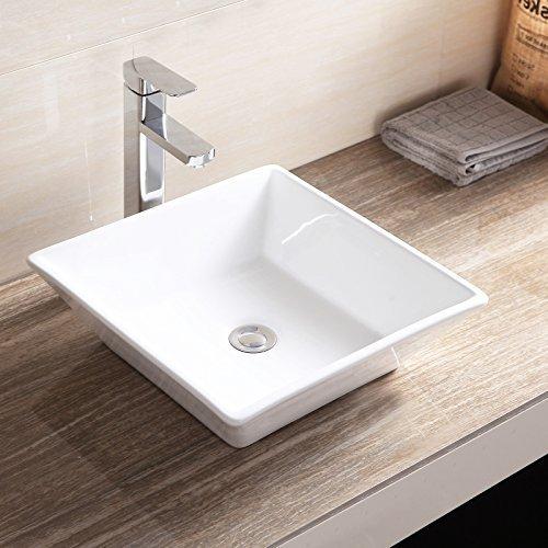 Topbath Bathroom Square Sink Porcelain Ceramic Vessel Van...