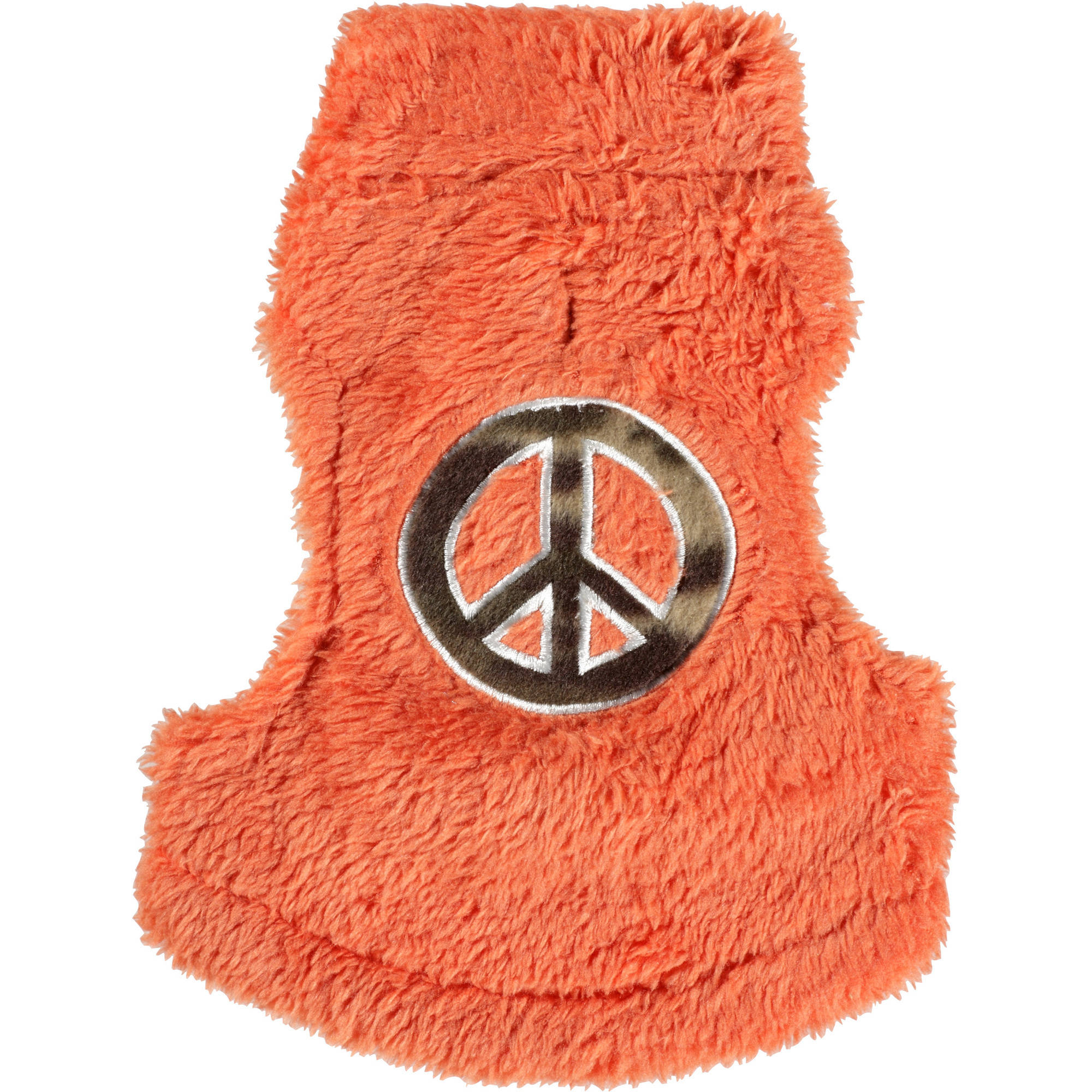 Cayre Group Mock Neck Fuzzy Fleece Dog Sweater with Peace Sign Applique, Solid Orange, Multiple Sizes Available