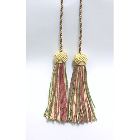- Vanilla, Dusty Rose, Light Olive Green Double Tassel / Tassel Tie with 3.75 inch Tassels / Spread 27