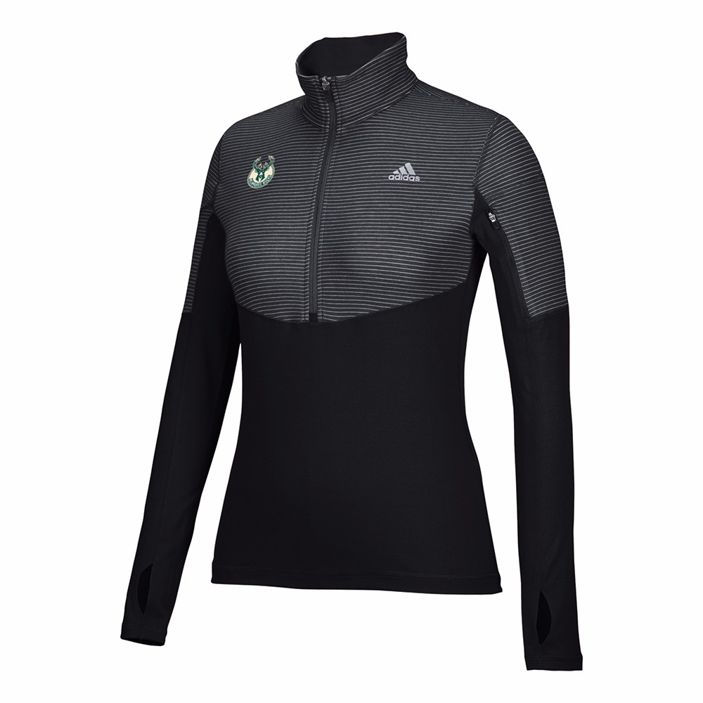 Milwaukee Bucks NBA Adidas Black Lightweight Climalite Performance Half Zip Team Logo Pullover Jacket For Women by Adidas