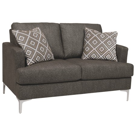 Fabric Upholstered Loveseat with Metal Bracket Legs and Track Armrests,Gray
