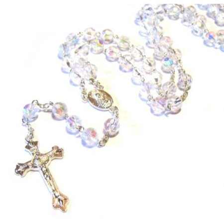 silver plated necklace rosary crystal clear glass beads & jesus crucifix and jerusalem cross