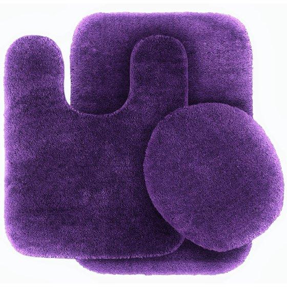 3 Pc Purple Bathroom Set Bath Mat Rug Contour And Toilet
