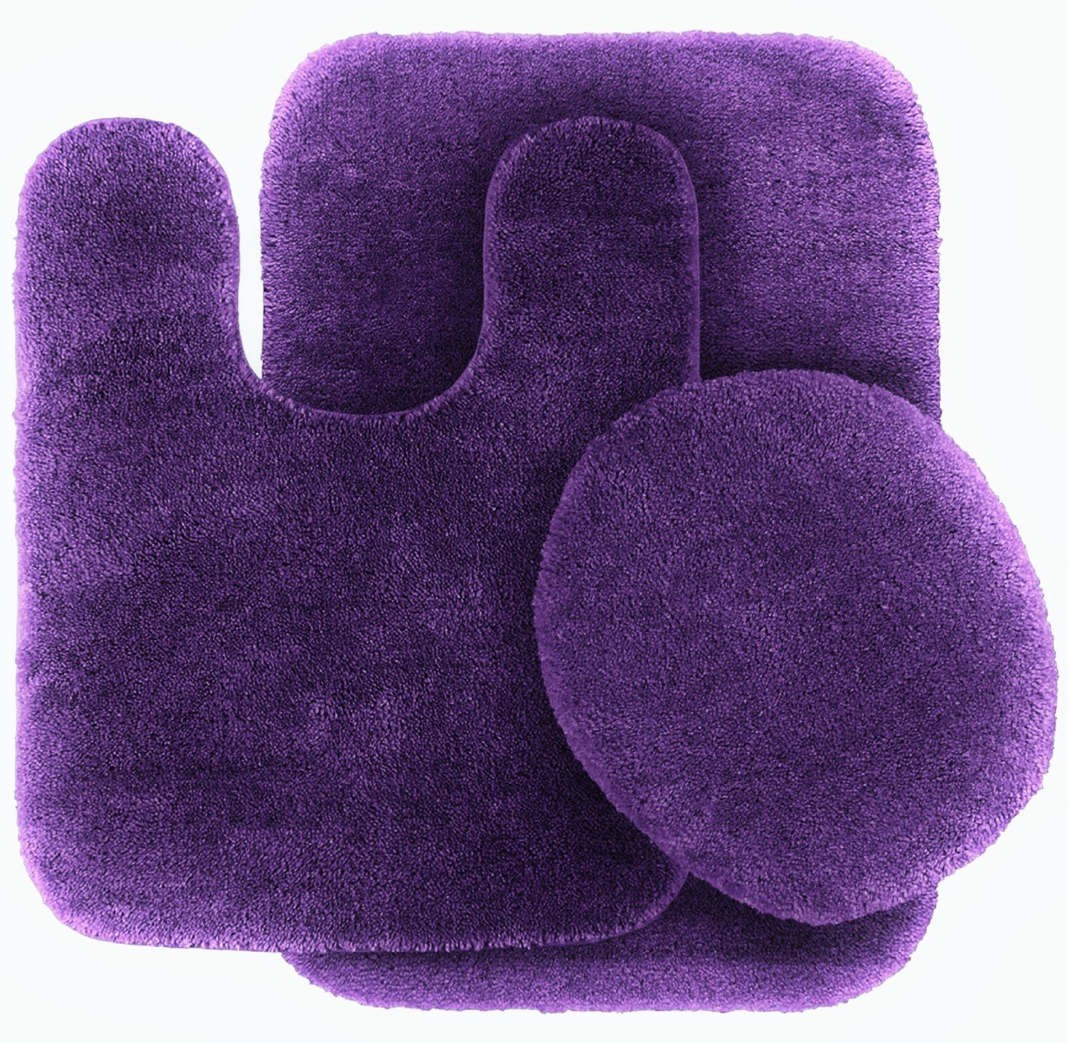 3 Pc PURPLE Bathroom Set Bath Mat RUG, Contour, and Toilet Lid Cover, with Rubber Backing #6
