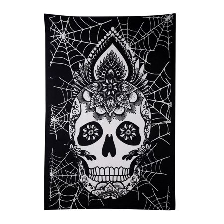 Indian Wall Hanging Tapestry Bed Sheet Sugar Skulls Black White