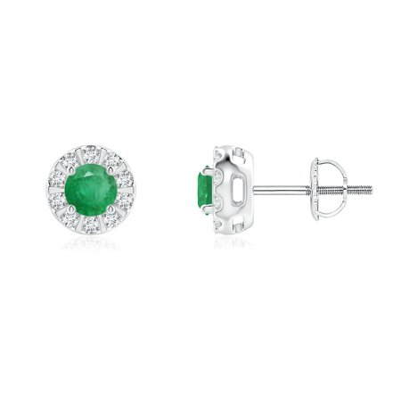 Women's Day Sale - Emerald Stud Earrings with Bar-Set Diamond Halo in 14K White Gold (4mm Emerald) - SE0126E-WG-A-4