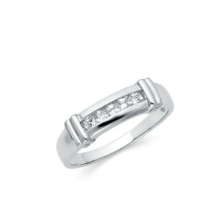 FB Jewels 925 Sterling Silver Ring Invisible Set Square Cubic Zirconia CZ Mens Anniversary Wedding Band Size -