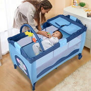 Best Travel Bassinets - Costway Blue Baby Crib Playpen Playard Pack Travel Review