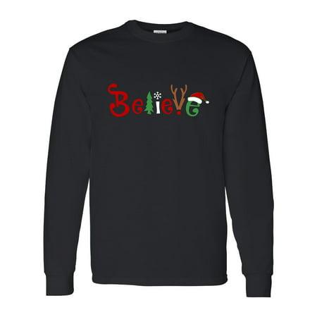 Christmas Shirt Believe Santa Claus Reindeer Mens Graphic Tees Long Sleeve - Santa Claus Skirt