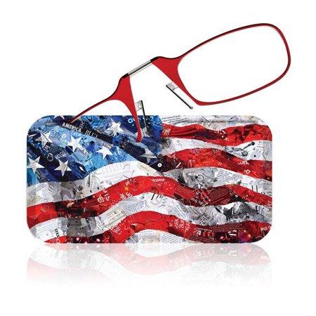Thinoptics Glasses + 'Flag Collage' Designer Case By Deborah Shapiro Red (Designer Glasses Shop)