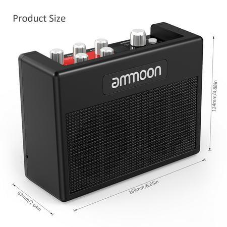 ammoon POCKAMP Amplificateur de guitare portable Multi-effets intégrés 80 tambours rythmiques Prise en charge de l'accordeur Tap Tempo Fonctions avec entrée auxiliaire Sortie casque, adaptateur se - image 2 of 7